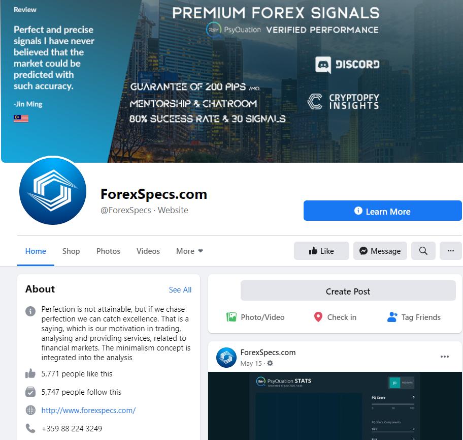 Forex Specs Social Network Profiles
