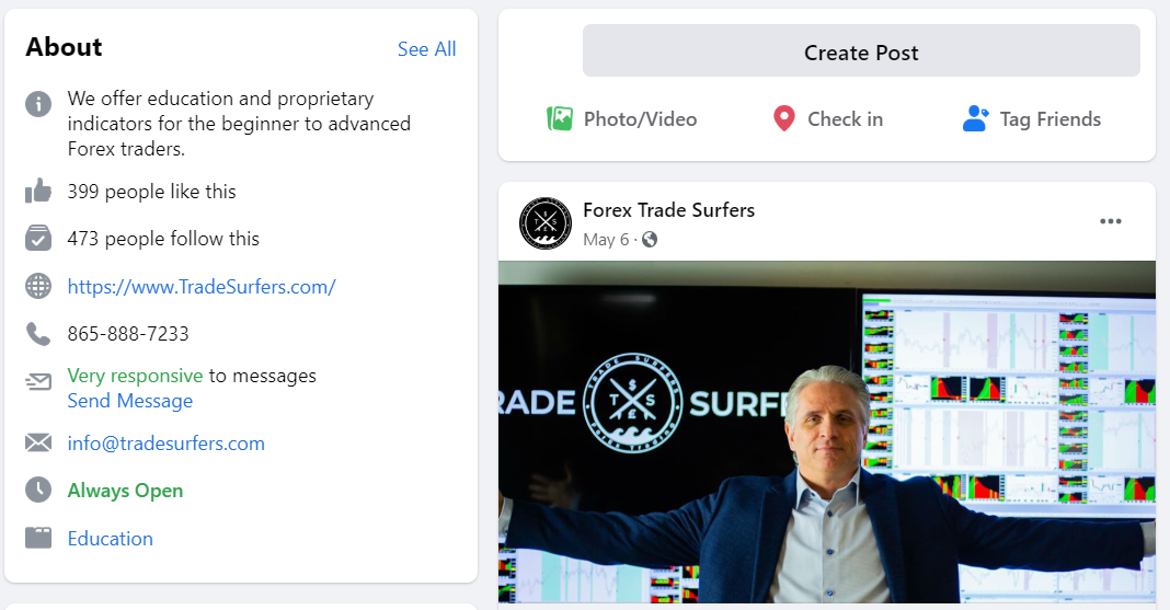 Trade Surfers Social network profiles