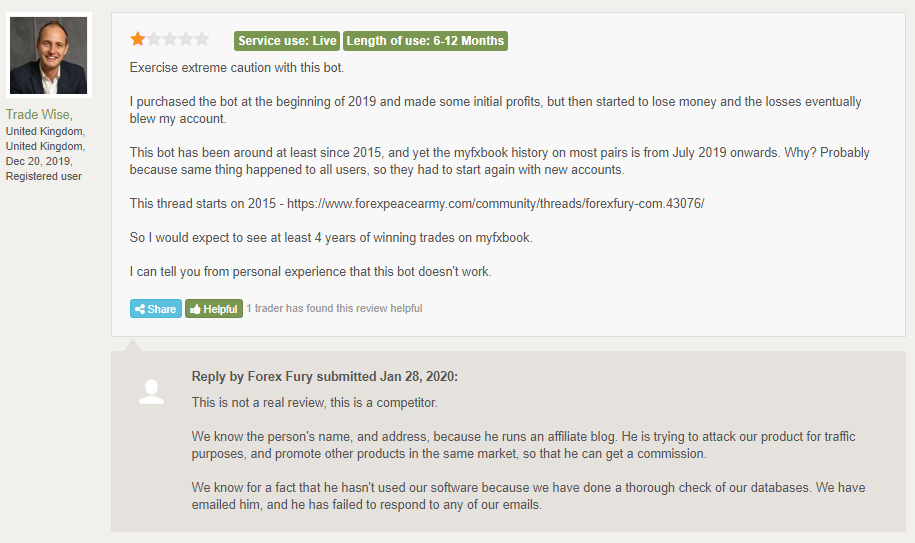 Forex Fury Customer Reviews