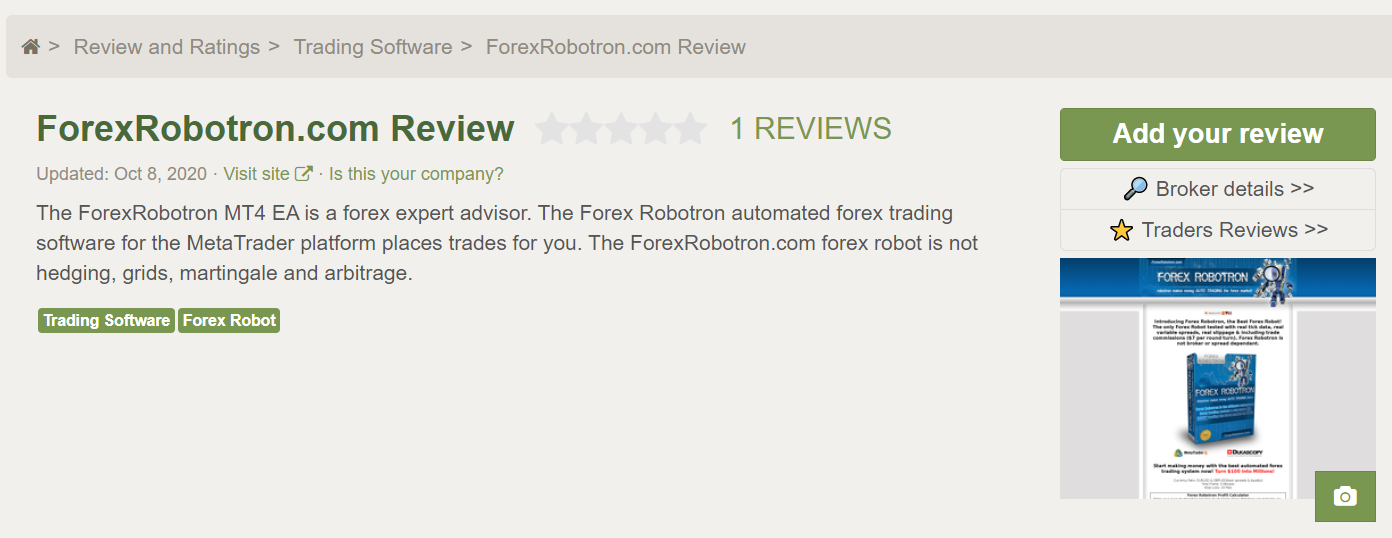 Forex Robotron Customer Reviews