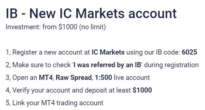NCM Signal - register an IC Markets account