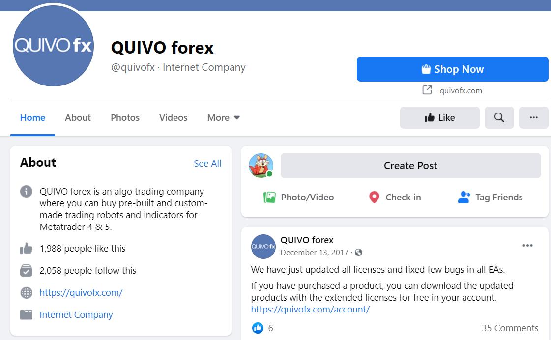 Quivo FX Facebook profile
