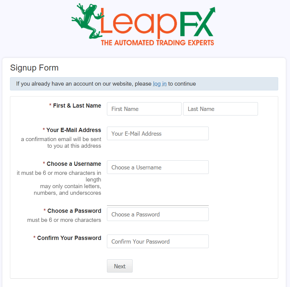 AutoArb. To purchase a robot, we have to complete a registration on LeapFX
