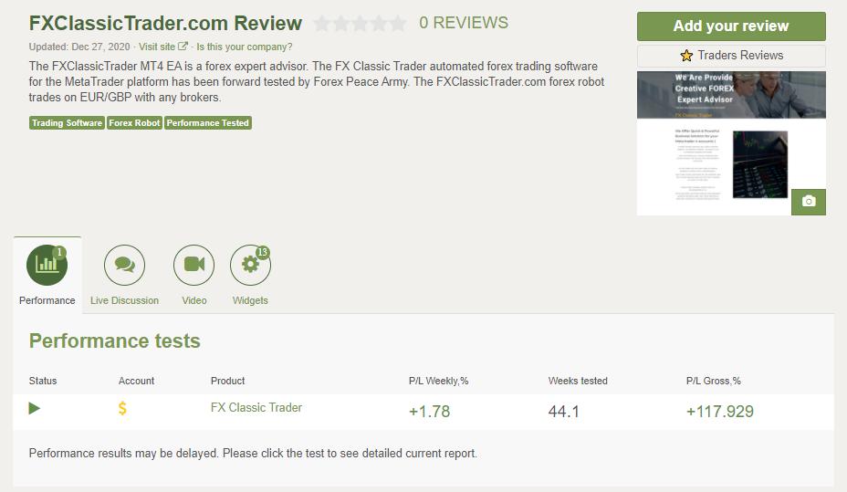 FX Classic Trader Customer Reviews