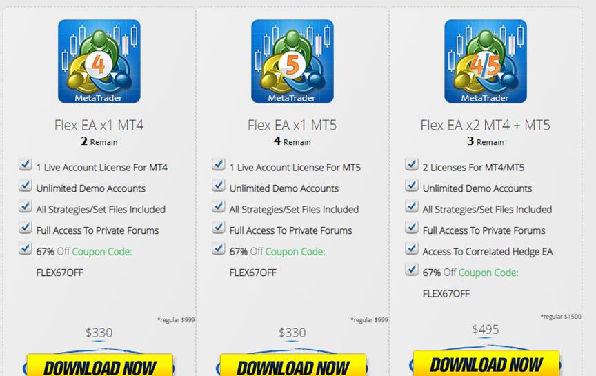 Forex Flex EA Pricing