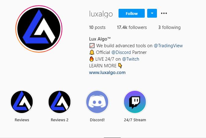 Lux Algo Instagram page