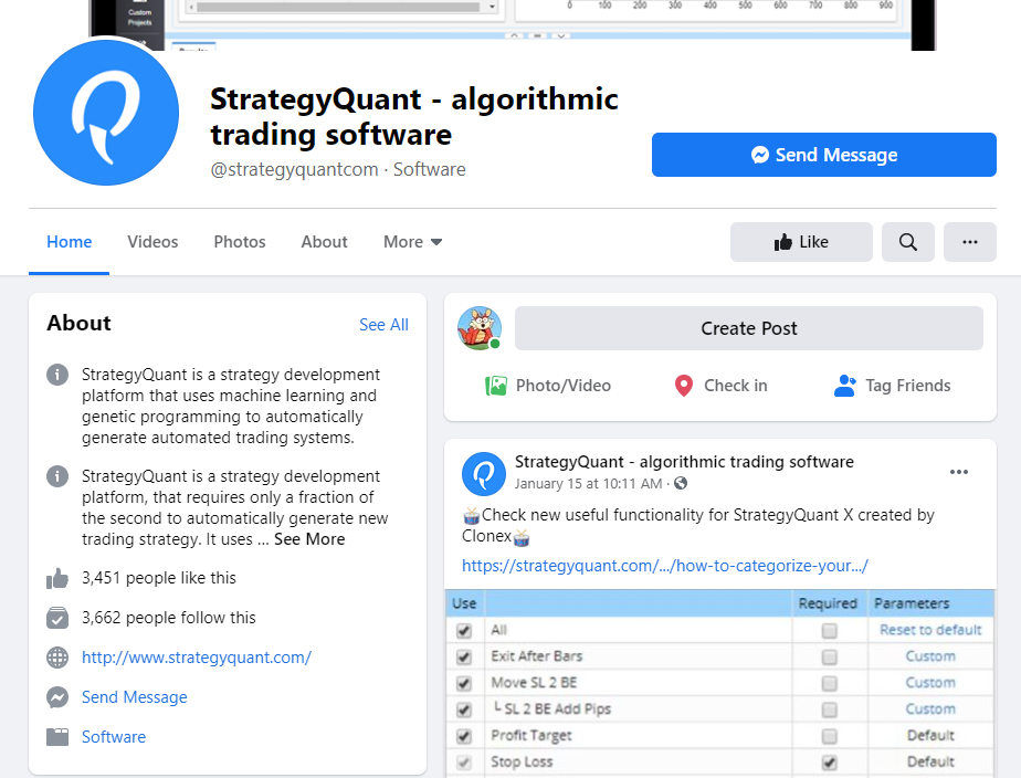 StrategyQuant X FaceBook profile
