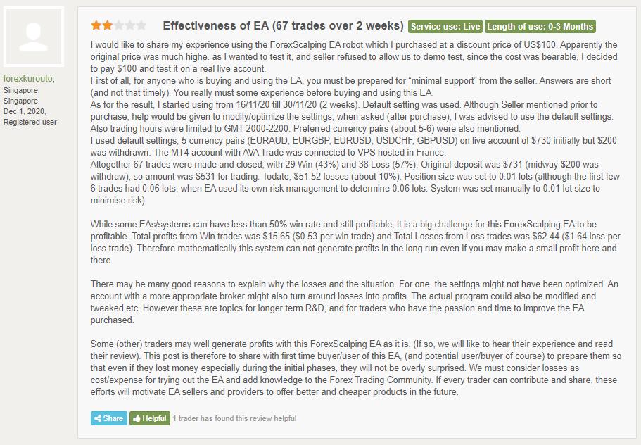 Forex Scalping EA Customer Reviews
