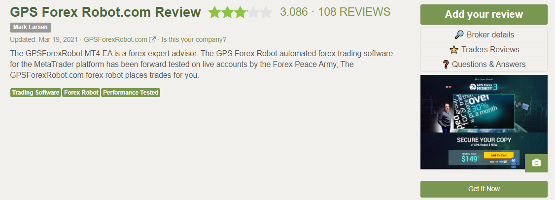 GPS Forex Robot Customer Reviews