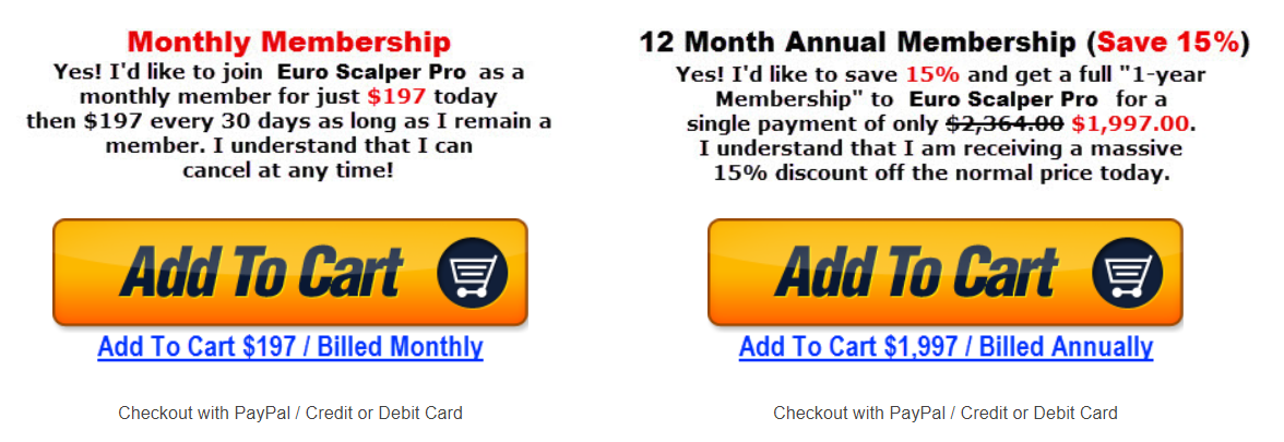 Euro Scalper Pro. There are paid membership subscription plans provided.