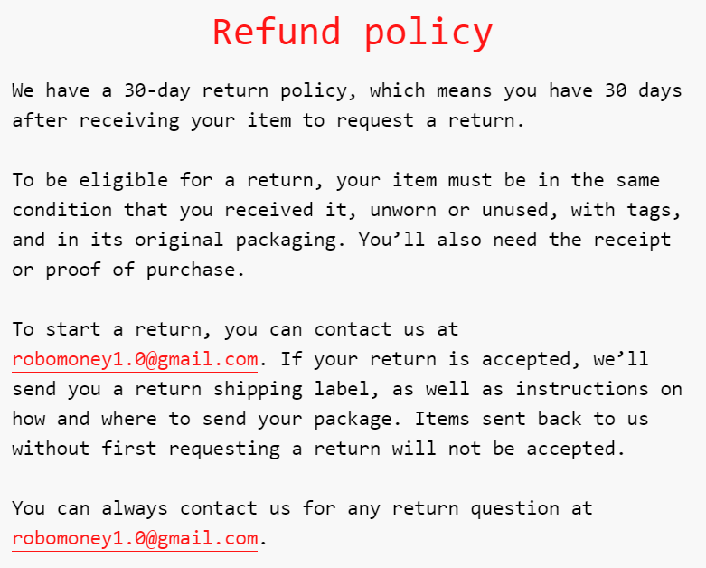 R0B0.1. The refund policy article sounds like an unedited piece of the text.