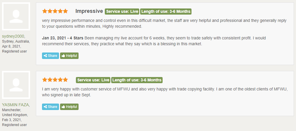 MFMU Customer reviews