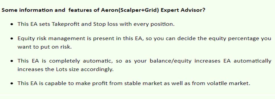 Aeron (Scalper+Grid) features