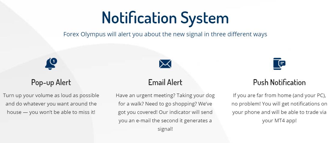 Forex Olympus - notification system