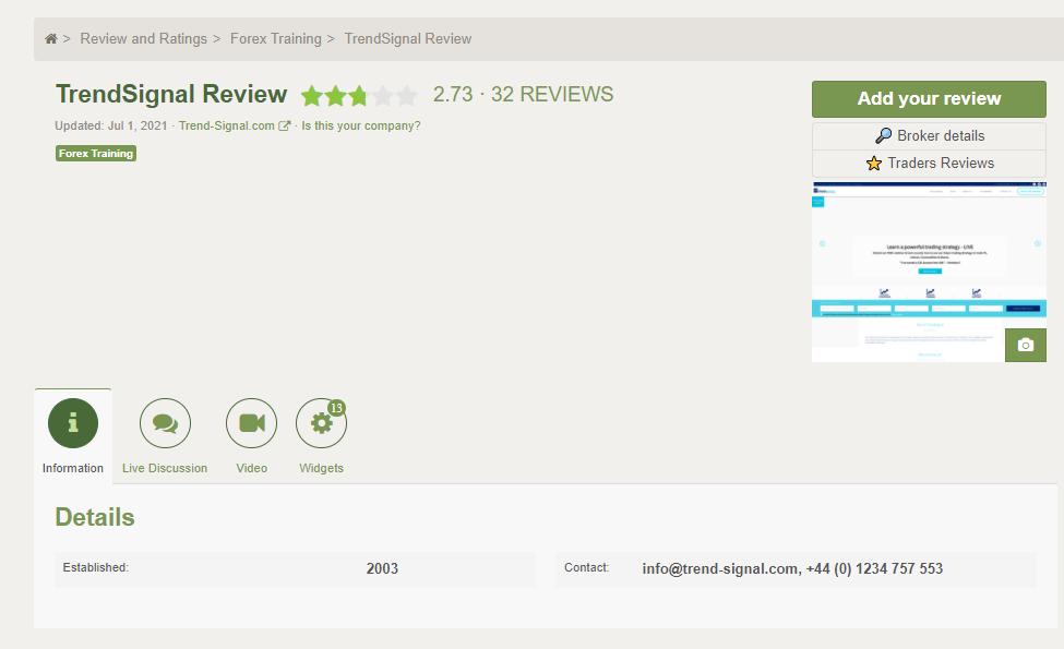 Trend Signal Customer Reviews