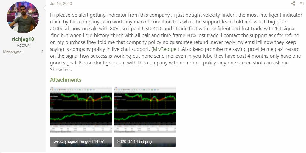 Velocity Finder Neural Trader - Customer Reviews