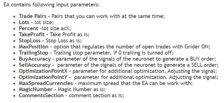 Zenith EA parameters