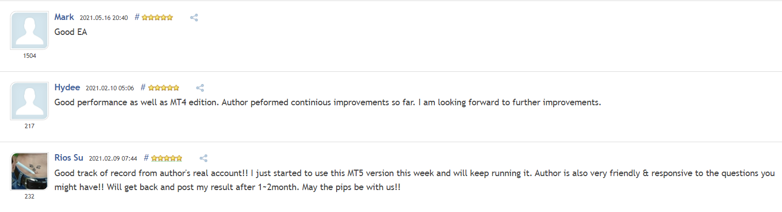 Customer reviews for NightVision EA on MQL5.