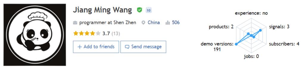 The profile of Jiang Ming Wang, the creator of Panda Night.