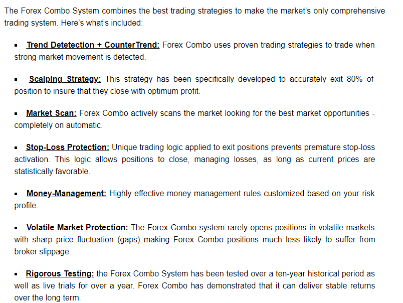 Features of Forex Combo System.