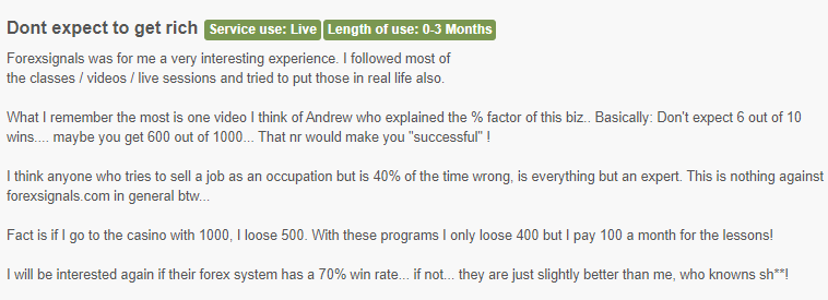 User complaining of poor results with ForexSignals.com