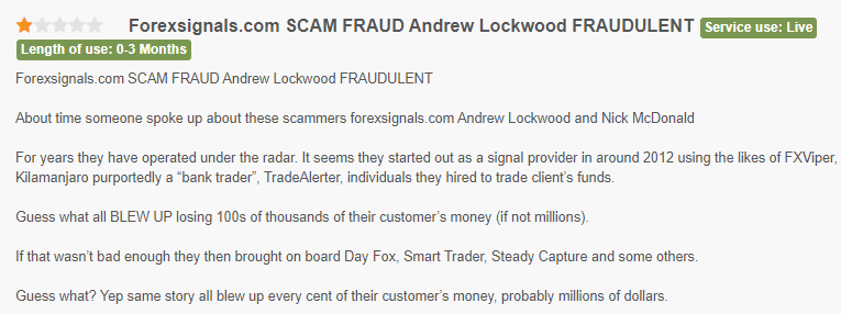 Customer stating that ForexSignals.com is a fraudulent site.