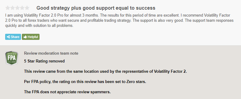 Customer review was declared as spam by FPA.