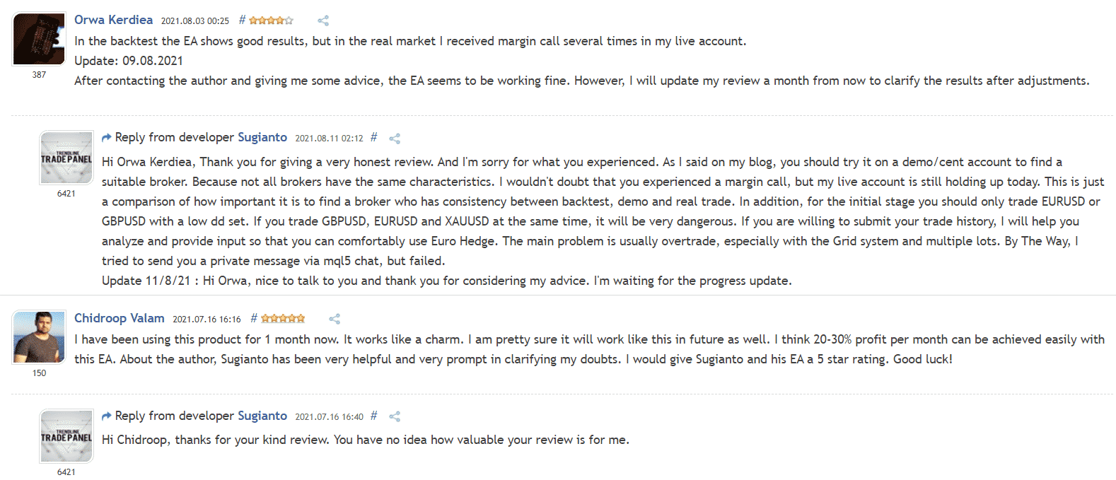 User reviews for Euro Hedge on the MQL5 website.