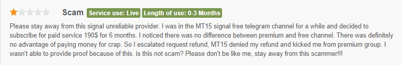 User complaining that M15 Signals is a scam.