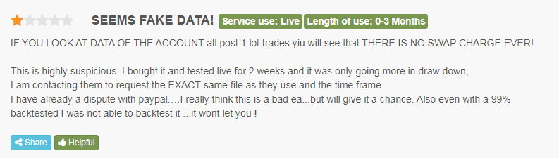 Fake user review.