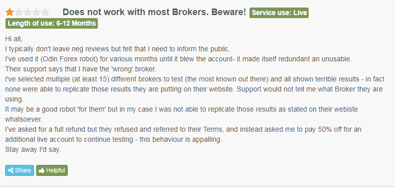 Negative user review on FPA.