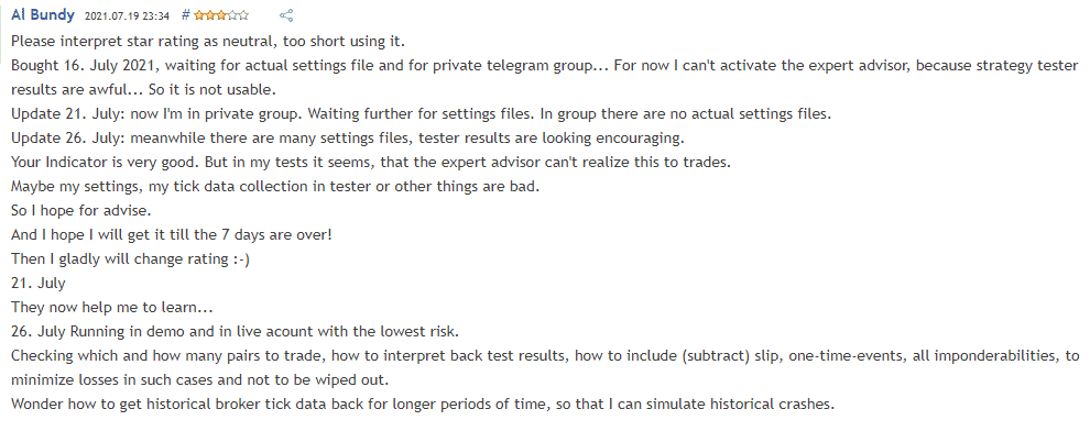 User complaining of poor real trading results.