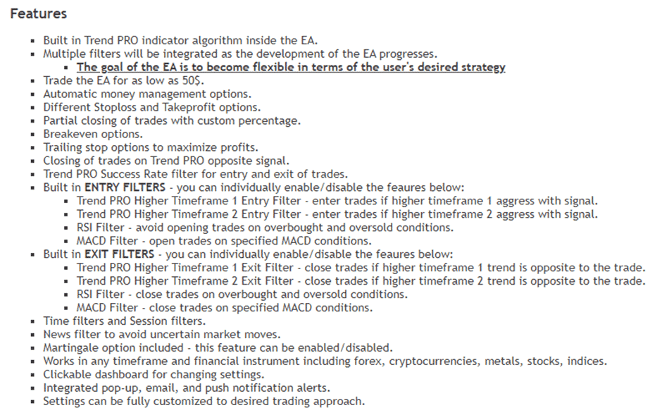 Features of PipFinite EA Trend PRO.